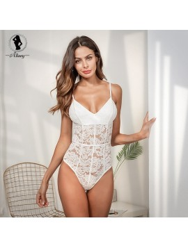 ALINRY bodysuit sexy lace sleeveless short rompers womens jumpsuit summer halter skinny elegant overalls body feminino playsuit