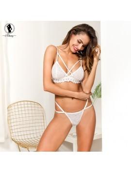 ALINIRY lace sexy bra set women push up lingerie transparent wire free bandage bralette seamless panties intimate underwear suit