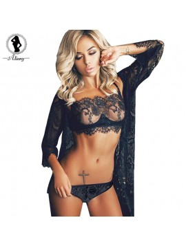 ALINRY lace sexy bra panty set women full cup push up lingerie bralette wire free plus size transparent thin intimate underwear