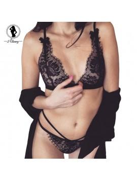 ALINRY lace sexy bra set women bralette push up lingerie wire free floral bras seamless panties transparent thin underwear suit