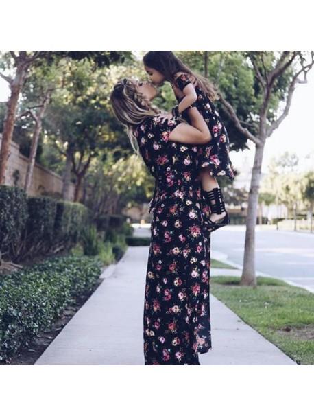 2018 Summer Mom and Me Girls Girls Midi Dress Women Floral Print Maxi Dress Tunic Short Sleeve Long Party Dresses Vestidos