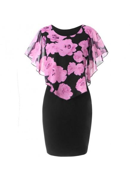 Plus Size 5XL 2018 Summer Bandage Dress Women Chiffon Vintage Flora Print Bodycon Dress Short Sleeve Mini Party Dresses Vestidos