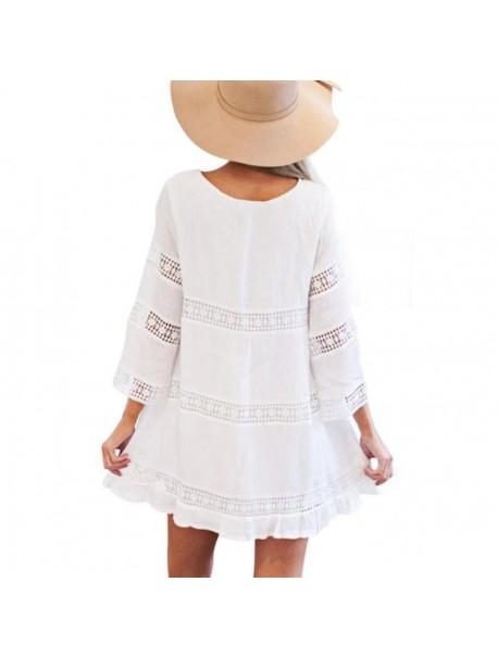 Summer Boho Dress Women White O Neck Three Quarter Sleeve Beach Dress Vintage Mini Dresses Tunic Vestidos