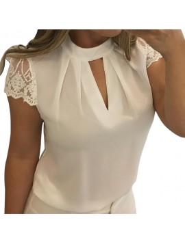 2018 Summer Womens Tops and Blouses Chiffon Lace Patchwork Shirts Tunic Hollow Out Ladies Clothes Women Top mujer de moda