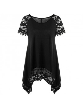 2018 Summer Womens Tops and Blouses Elegant Lace Patchwork Short Sleeve Top Tunic Asymmetric Women Clothes Femininas