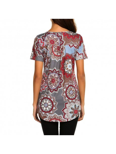Summer Tops For Womens Tops and Blouses 2018 Streetwear Mandala Print V Neck Shirts Tunic Ladies Top Clothes Womens Clothing