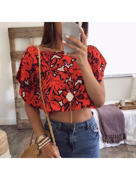 Womens Tops and Blouses 2018 Feminina Streetwear Print Short Sleeve Crop Top Tunic Ladies Top Korean Fashion Clothing