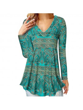 Womens Tops and Blouses 2018 Vintage Paisley Print V Neck Long Sleeve Shirts Tunic Causal Ladies Top Clothes Womens Clothing