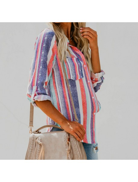 Womens Tops and Blouses Autumn 2018 feminina Streetwear Striped Long Sleeve Shirts Tunic Button Pocket Ladies Top Clothes