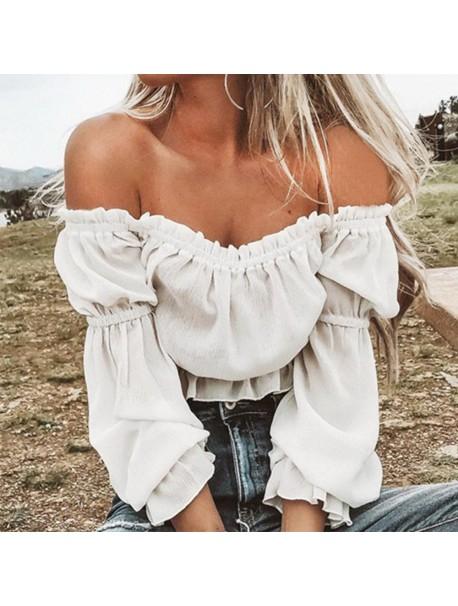 Womens Tops and Long Sleeve Blouses 2018 Streetwear Ruffle Off Shoulder Shirts Tunic Ladies Top Korean Fashion Womens Clothing