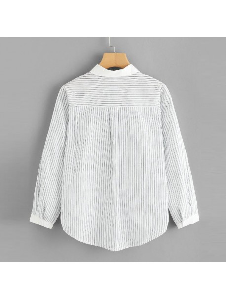 Womens Tops and Long Sleeve Blouses 2018 Streetwear Striped Cat Pocket Shirts Tunic Ladies Top Korean Fashion Womens Clothing
