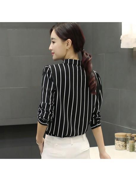 Womens Tops and Long Sleeve Blouses 2018 Streetwear Striped Pocket V Neck Shirts Tunic Ladies Top Korean Fashion Womens Clothing