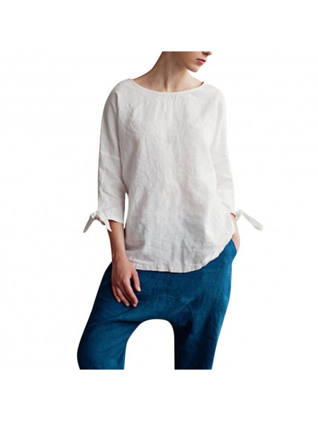 Womens Tops and Long Sleeve Blouses 2018 Vintage Three Quarter White Shirts Woman Clothes Tunic Ladies Top Womens Clothing