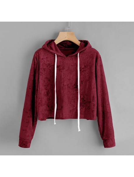 Womens Velvet Hooded Tops and Blouses Lace Up Long Sleeve Sweatshirt Tunic Women Clothing Blusa Feminina